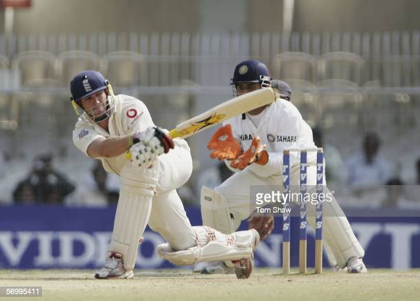 Kevin Pietersen of England hits out during day four of the First Test between India and England at the VCA Stadium on March 4, 2006 in Nagpur, India.