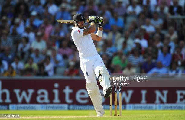 Kevin Pietersen of England hits out during day three of the 3rd Investec Ashes Test match between England and Australia at Emirates Old Trafford...