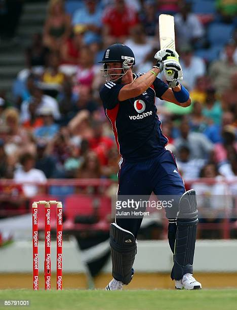 Kevin Pietersen of England hits out during The 5th One Day International between The West Indies and England played at The Beausjour Stadium on April...