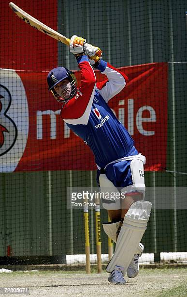 Kevin Pietersen of England hits out during the England nets session at the WACA on December 12 2006 in Perth Australia