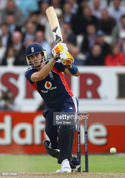Kevin Pietersen of England hits out during the First NatWest Series One Day International match between England and South Africa at Headingley on...