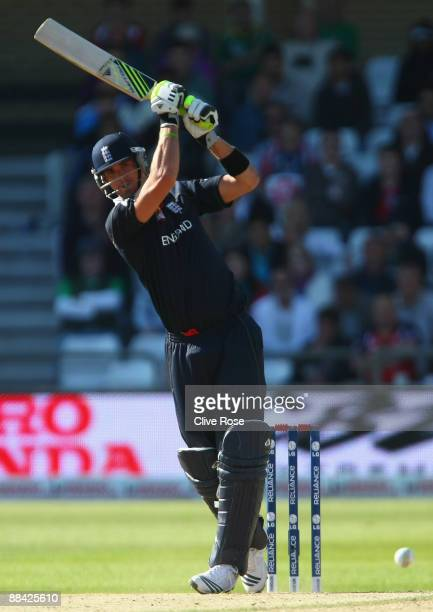 Kevin Pietersen of England hits out during the ICC World Twenty20 Super Eights match between England and South Africa at Trent Bridge on June 11 2009...