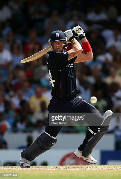 Kevin Pietersen of England hits out during the ICC World Twenty20 Super Eight match between England and South Africa at the Kensington Oval on May 8,...
