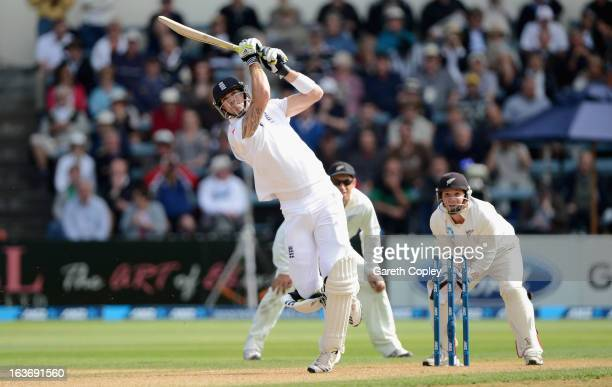 Kevin Pietersen of England hits out for six runs from the bowling of Bruce Martin during day two of the second Test match between New Zealand and...