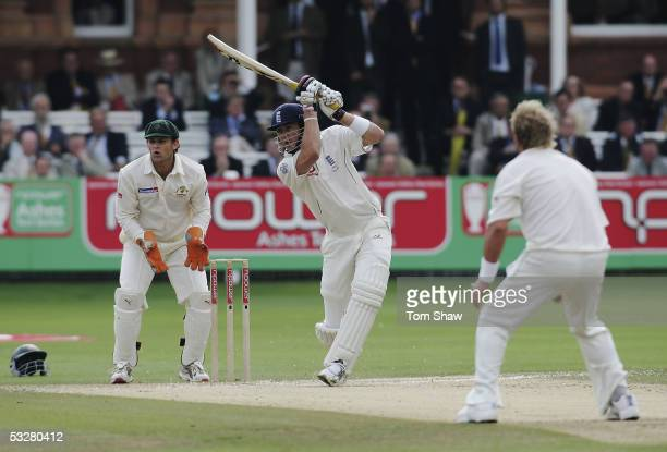 Kevin Pietersen of England hits out on his way to a half century during day four of the first npower Ashes Test match between England and Australia...