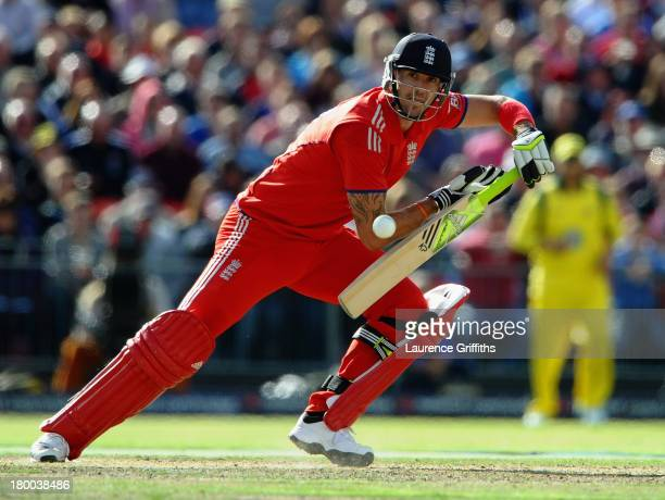 Kevin Pietersen of England hits out to the boundary during the 2nd Natwest One Day International between England and Australia at Old Trafford on...