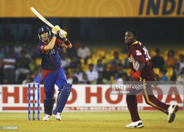Kevin Pietersen of England in action during the ICC Champions Trophy match between England and the West Indies at the Sardar Patel Gujrat Stadium on...