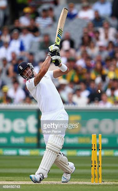 Kevin Pietersen of England is bowled by Mitchell Johnson of Australia during day two of the Fourth Ashes Test Match between Australia and England at...