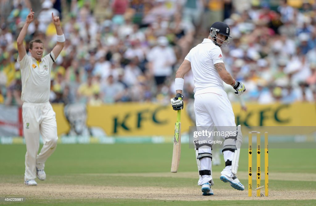 Kevin Pietersen of England is bowled by Peter Siddle of Australia during day four of the Second Ashes Test Match between Australia and England at Adelaide Oval on December 8, 2013 in Adelaide, Australia.