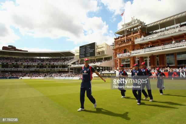 Kevin Pietersen of England leads the England players out during the Fifth NatWest Series One Day International match between England and New Zealand...