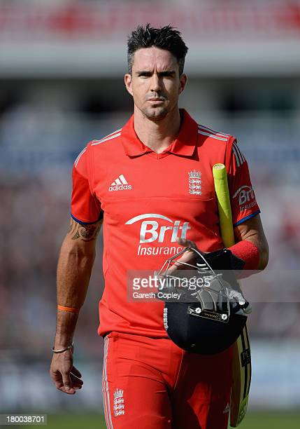 Kevin Pietersen of England leaves the field after being dismissed Shane Watson of Australia during the 2nd NatWest Series ODI between England and...