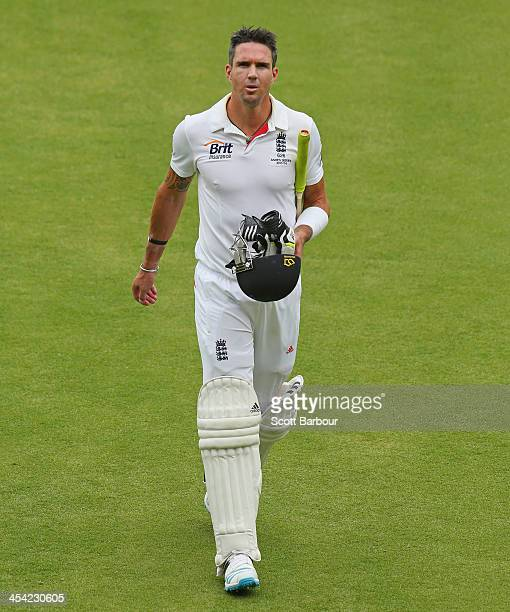 Kevin Pietersen of England leaves the field after being dismissed during day four of the Second Ashes Test Match between Australia and England at...