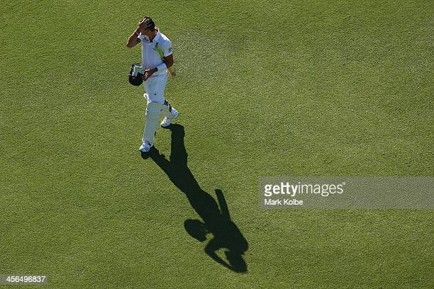 Kevin Pietersen of England leaves the field after being dismissed during day two of the Third Ashes Test Match between Australia and England at WACA...