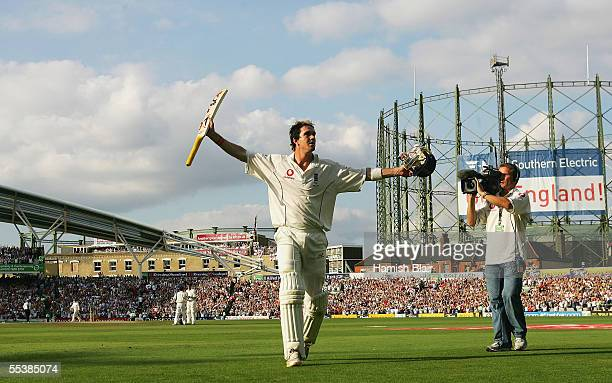 Kevin Pietersen of England leaves the field after his innings of 158 during day five of the Fifth npower Ashes Test between England and Australia...
