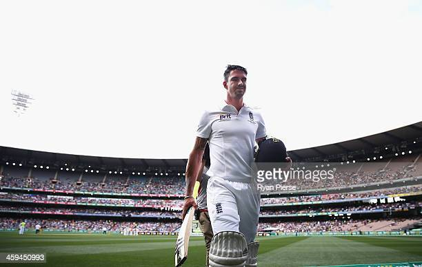 Kevin Pietersen of England looks dejected after being dismissed by Mitchell Johnson of Australia during day two of the Fourth Ashes Test Match...