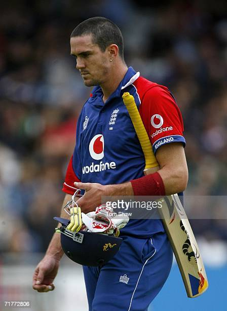 Kevin Pietersen of England looks dejected after being dismissed by Mohammad Asif of Pakistan during the 2nd NatWest Series One Day International...