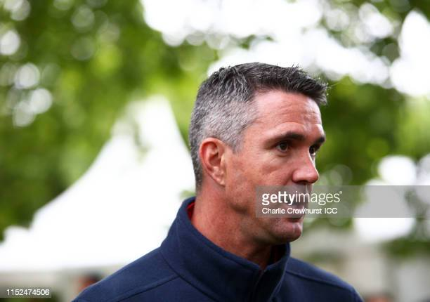 Kevin Pietersen of England looks on as he is interviewed during the ICC Cricket World Cup 2019 Opening Party at The Mall on May 29, 2019 in London,...