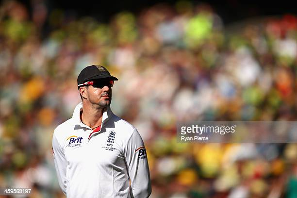 Kevin Pietersen of England looks on during day three of the Fourth Ashes Test Match between Australia and England at Melbourne Cricket Ground on...