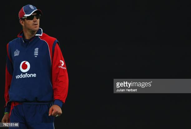 Kevin Pietersen of England looks on during the First NatWest Series One Day International match between England and India at the Rose Bowl on August...