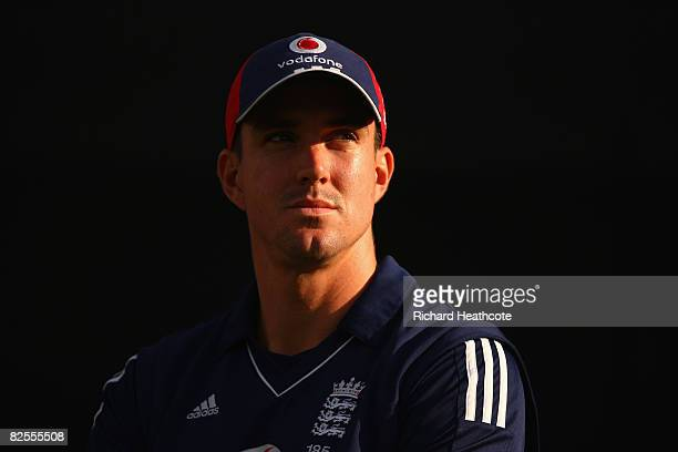 Kevin Pietersen of England looks on following his team's victory at the end of the Second NatWest Series One Day International match between England...