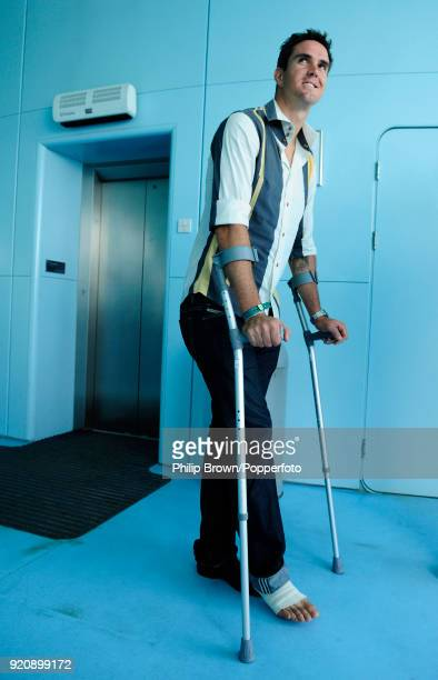 Kevin Pietersen of England on crutches after an operation on his Achilles heel arrives at the media centre during the Friends Provident Trophy Final...