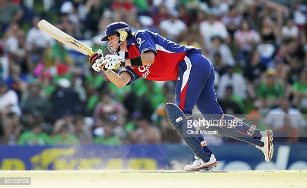 Kevin Pietersen of England on his way to a century during the second one day international match between South Africa and England at Goodyear Park on...