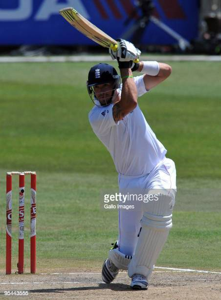 Kevin Pietersen of England plays a straight drive during day 3 of the 2nd test match between South Africa and England from Sahara Stadium Kingsmead...