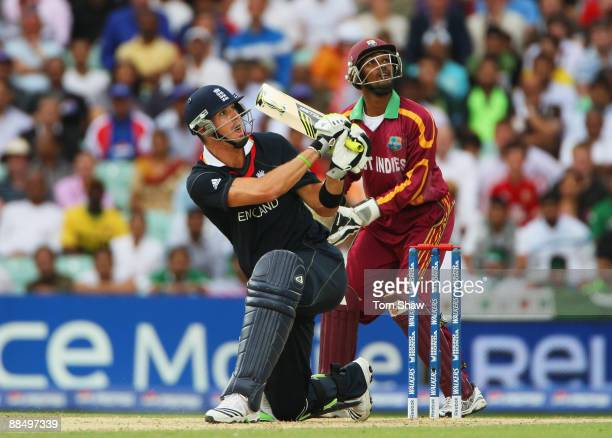 Kevin Pietersen of England plays the shot that led to his dismissal watched by Denesh Ramdin of West Indies during the ICC World Twenty20 Super...