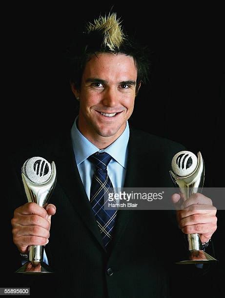 Kevin Pietersen of England poses with his trophies after being named Emerging Player of the Year and ODI Player of the Year during the ICC Awards...