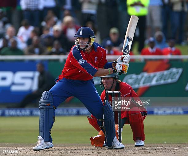 Kevin Pietersen of England prepares to reverse sweep during the ICC Twenty20 World Championship match between England and Zimbabwe at Newland Cricket...