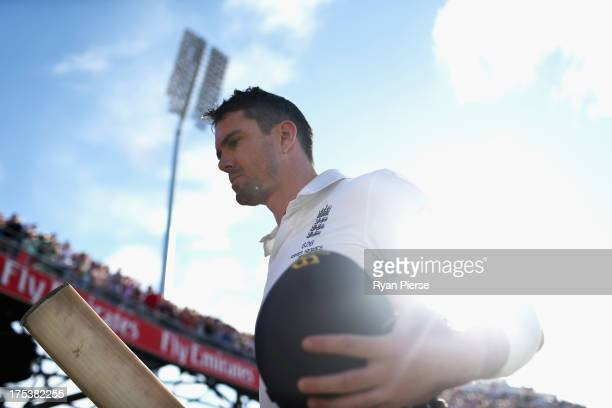 Kevin Pietersen of England raises his bat after he was dismissed for 113 runs by Mitchell Starc of Australia during day three of the 3rd Investec...