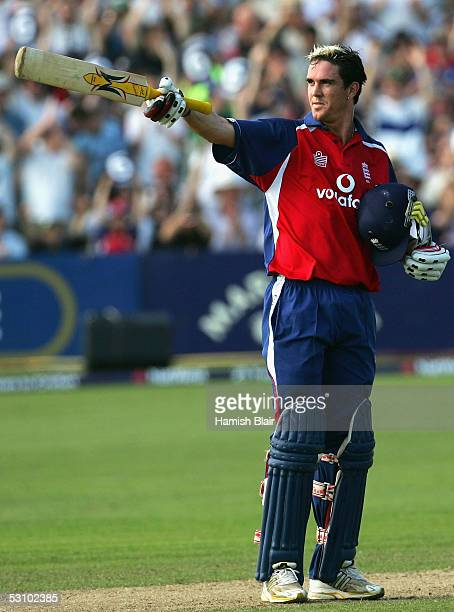 Kevin Pietersen of England reaches 50 during the NatWest Series One Day International between England and Australia played at the County Ground on...