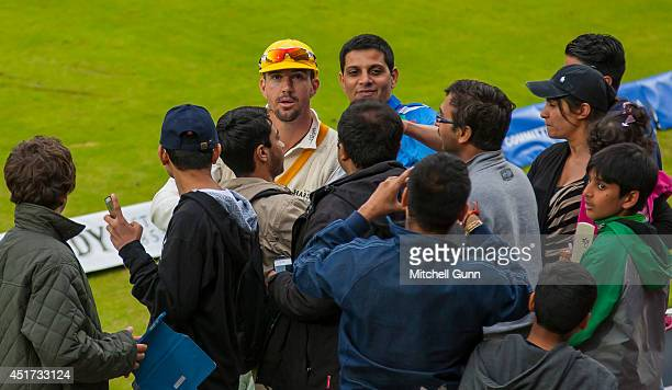 Kevin Pietersen of England representing The rest of the World signs autographs for fans during the MCC v Rest of The World match at Lords Cricket...