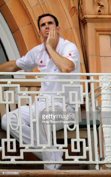 Kevin Pietersen of England sitting on the dressing room balcony after the 2nd Test match between England and Australia at Lord's Cricket Ground...