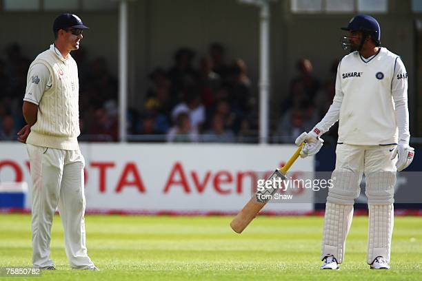 Kevin Pietersen of England talks to Zaheer Khan of India during day three of the Second Test match between England and India at Trent Bridge on July...