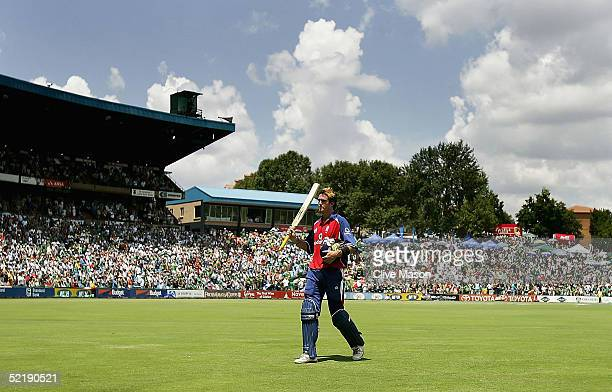 Kevin Pietersen of England walks back to the dressing room after scoring a century during the seventh and final one day international match between...
