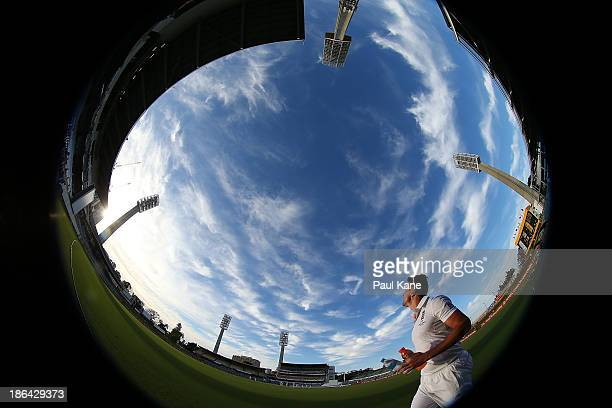 Kevin Pietersen of England walks drinks around the boundary during day one of the Tour match between Western Australia XI and England at WACA on...