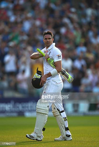 Kevin Pietersen of England walks from the ground after being dismissed by Ryan Harris of Australia during day five of the 5th Investec Ashes Test...