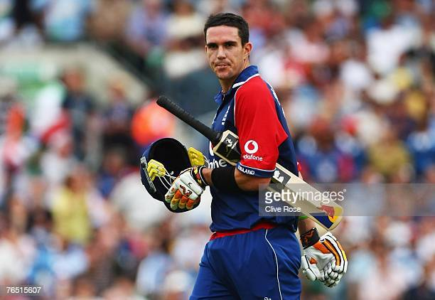 Kevin Pietersen of England walks off after being dismissed during the 6th NatWest ODI between England and India at the Oval on September 5 2007 in...