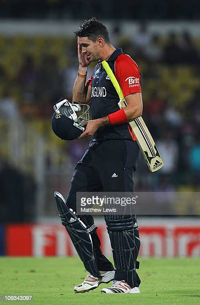 Kevin Pietersen of England walks off, after he was caught by Peter Borren of the Netherlands off the bowling of Pieter Seelaar during the ICC World...