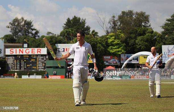 Kevin Pietersen of England walks off at tea after making a century during day 3 of the 2nd test match between Sri Lanka and England at the P Sara...