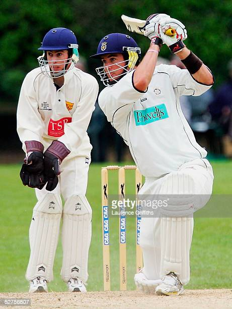 Kevin Pietersen of Hampshire smashes another boundary during the CG Trophy match between Shropshire and Hampshire at Whitchurch County Cricket Club...