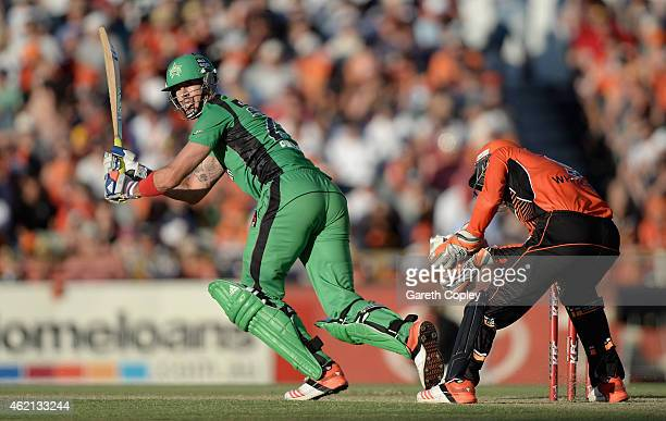 Kevin Pietersen of Melbourne Stars bats during the Big Bash League Semi Final match between the Perth Scorchers and the Melbourne Stars at WACA on...