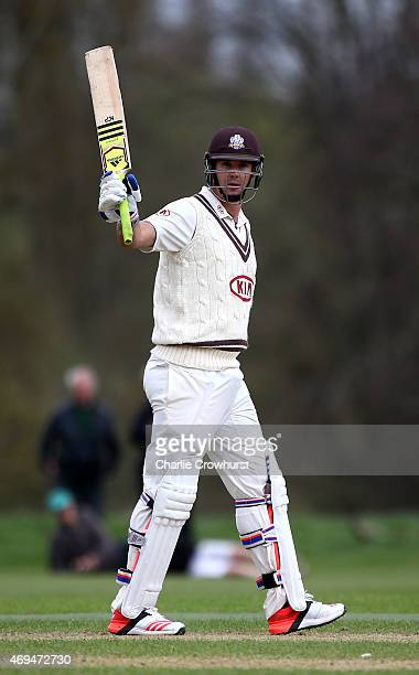 Kevin Pietersen of Surrey celebrates his 150 during day one of the friendly match between Oxford MCCU and Surrey at The Parks on April 12 2015 in...