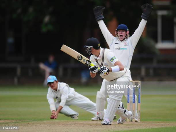 Kevin Pietersen of Surrey is caught by Craig Park of Cambridge MCCU as Dean Bell of Cambridge MCCU celebrates during the MCC University match between...