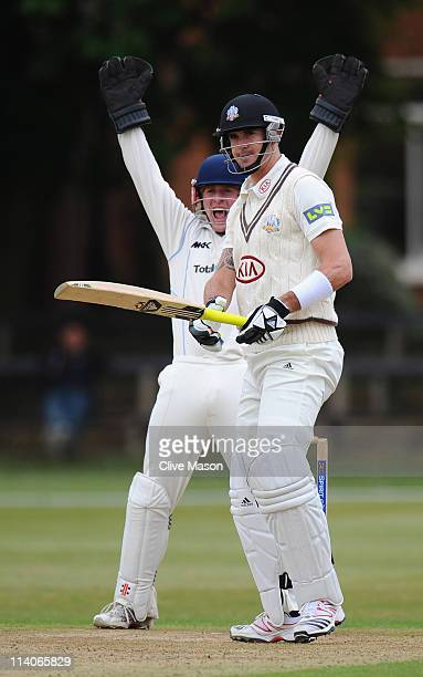 Kevin Pietersen of Surrey is dismissed and leaves the field during the MCC University match between Cambridge MCCU and Surrey at Fenner's on May 11,...