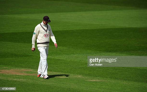 Kevin Pietersen of Surrey looks on from the field during day three of the LV County Championship match between Surrey and Leicestershire at The Kia...