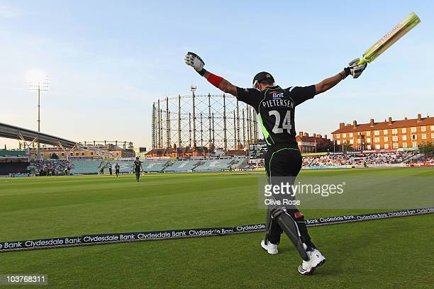 Kevin Pietersen of Surrey swings his arms as he comes out to bat during the Clydesdale Bank 40 match between Surrey and Worcestershire at The Brit...