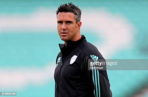 Kevin Pietersen of Surrey waits for his turn in the nets during the Surrey v Essex - NatWest T20 Blast cricket match at the Kia Oval on July 19, 2017...
