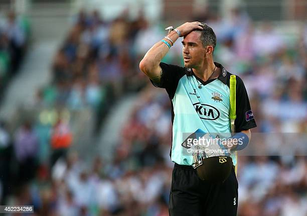 Kevin Pietersen of Surrey walks off dejected after being bowled out by Somerset's Max Waller during the Natwest T20 Blast match between Surrey and...